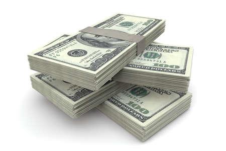 gotówka: Stos 100 dolarów rachunki na białym tle