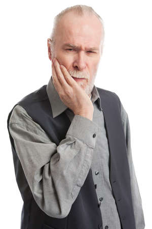 Senior with headache isolated on white background Stock Photo - 13278589