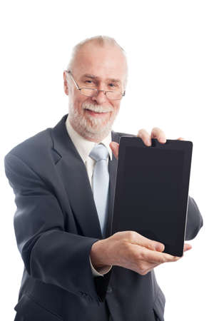 executive affable: Senior with tablet pc isolated on white background Stock Photo