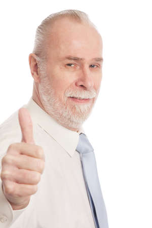 acceptance: Senior with thumb up isolated on white background