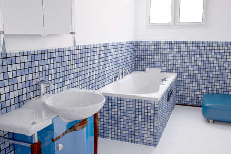 Bathroom with blue tiles and a basin photo