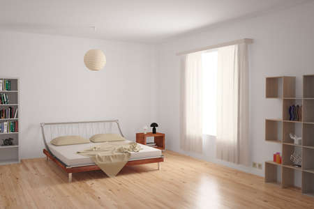 Modern bedroom interior with minimalistic furnishing in neutral colours on an uncarpeted hardwood floor. photo