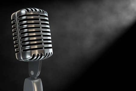 microfono antiguo: Desatendida micr�fono antiguo en una habitaci�n llena de humo con copyspace