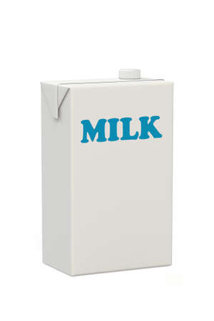 carton de leche: Una caja de cart�n blanco blanco como la leche con la leche palabra en letras azules aislados sobre un fondo blanco