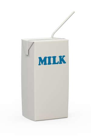 envase de leche: Una caja de cart�n blanco blanco como la leche con una pajita y la palabra leche en letras azules aislados sobre un fondo blanco