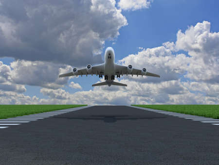 runway: Airplane takes off over ground with grass on runway Stock Photo