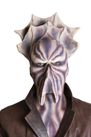 Alien with tentacle and purple skin frontal portrait photo