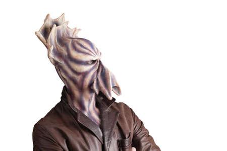 alien face: Alien with tentacle and purple skin side wide portrait Stock Photo