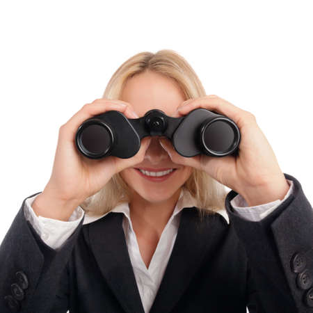 Woman with ocular looking straight into camera Stock Photo - 13329247