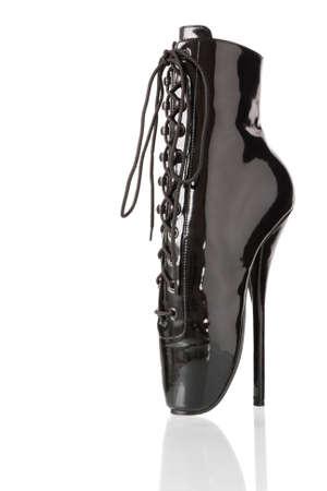 fetish wear: Black high heel Shoe on white background isolated