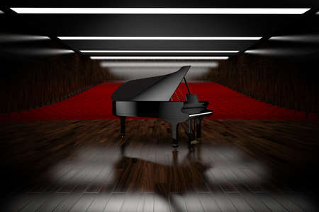 wooden lid: Piano in concert room view from stage