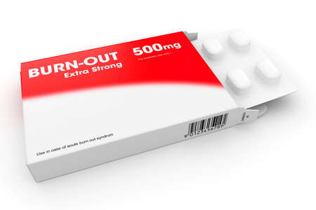 Open medicine packet labelled Burn-out opened at one end to display a blister pack of white tablets, illustration on white illustration