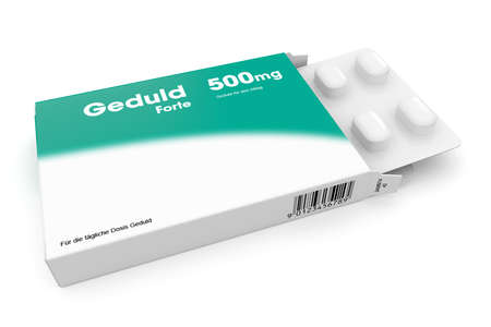 Open medicine packet labelled Gedult opened at one end to display a blister pack of white tablets, illustration on white illustration