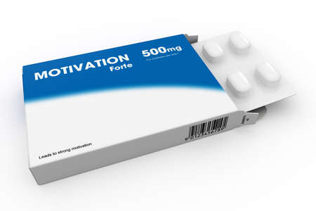 Open medicine packet labelled Motivation opened at one end to display a blister pack of white tablets, illustration on white
