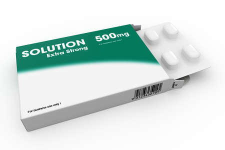 Open medicine packet labelled Solution opened at one end to display a blister pack of white tablets, illustration on white illustration