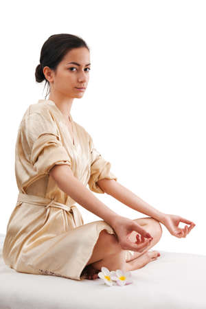 asien: Asien woman relaxing doing yoga sitting