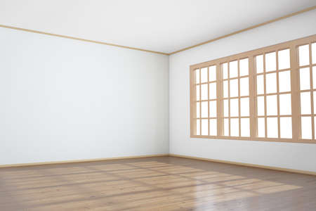 Empty room with big window and wooden floor Stock Photo - 13553598
