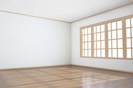 big window: Lege ruimte met groot raam en een houten vloer