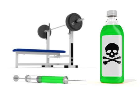 illicit: anabolic steroids concept with weights and bottle and needle
