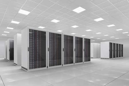 centro de computo: Centro de Cómputo con un montón de bastidores de servidor