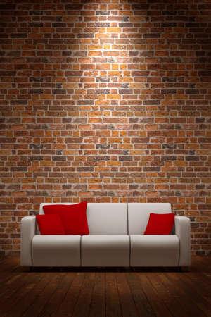 pared iluminada: Sof� con pared de ladrillo y de la luz desde arriba Foto de archivo