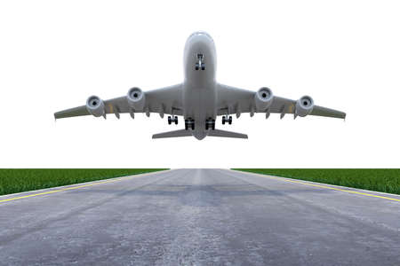 airborne vehicle: Airplane lifting up on the runway with white sky