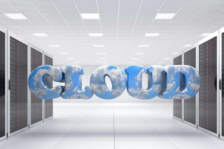 Rechenzentrum mit Haufen von Server-Racks und Wolke Lizenzfreie Bilder - 13553592