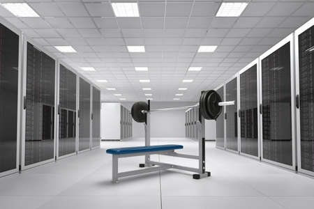 Computer Center with bunch of server racks and power weights Stock Photo - 13553594