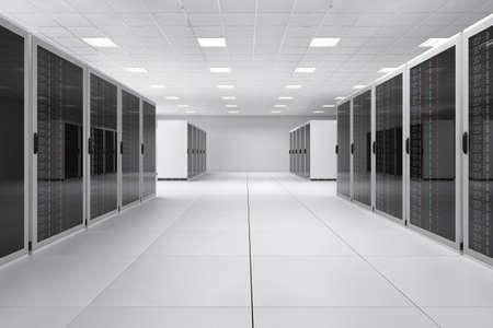 霓虹燈空計算機中心和反射層 版權商用圖片