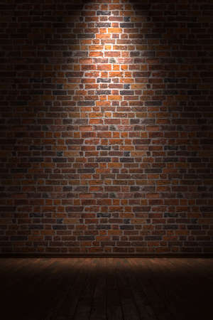 Empty room with brick wall and light from above Stock Photo - 13553596