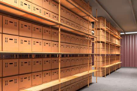 inventario: Trastero con cajas de cartón apiladas muchos Foto de archivo