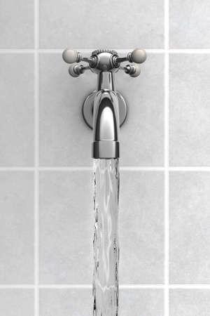 llave de agua: El agua del grifo de cromo en el baño de Foto de archivo