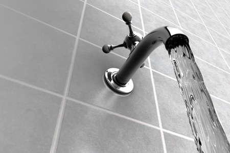 Wasserhahn Chrom auf gemacht in Bad