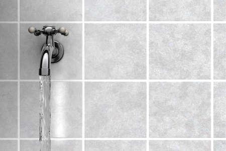 llave agua: El agua del grifo de cromo en el ba�o de Foto de archivo
