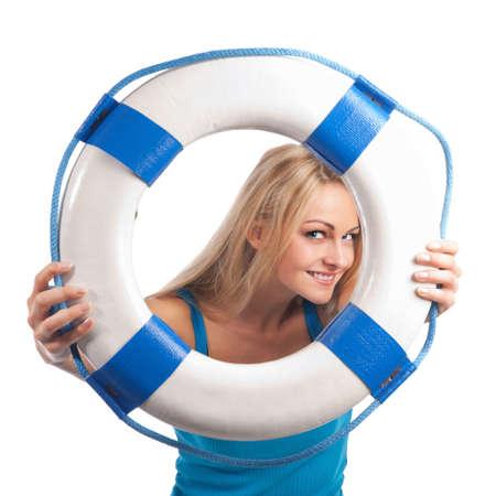 ahogarse: Chica con tabla de salvación