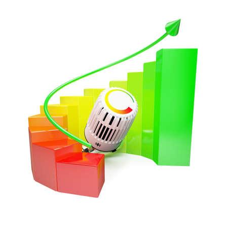 ahorro energia: Diagrama de colorido con el sistema de calefacción en el fondo blanco