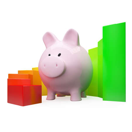 Colorfull diagram with piggy bank on white background photo