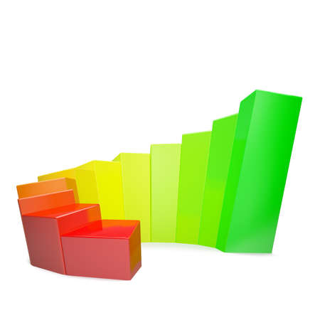 Colorfull diagram crooked on white background isolated Stock Photo - 13817055