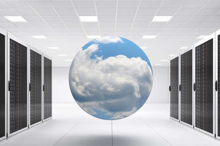 Computer Center with bunch of server racks and cloud Stock Photo - 13817062
