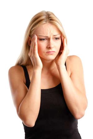 preocupacion: Mujer con dolor Foto de archivo