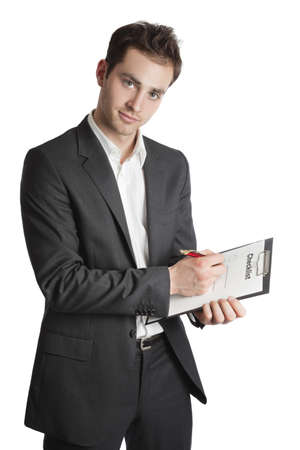customer records: Young professional looking into camera isolated on white Stock Photo