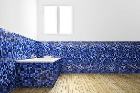 Empty Bathroom with blue tiles from frontal view Stock Photo - 14068620