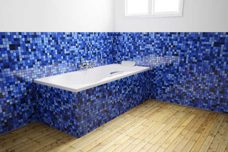 Empty Bathroom with blue tiles from angularside Stock Photo - 14068621