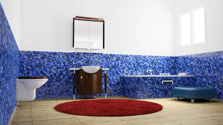Empty Bathroom with blue tiles from low angle view photo