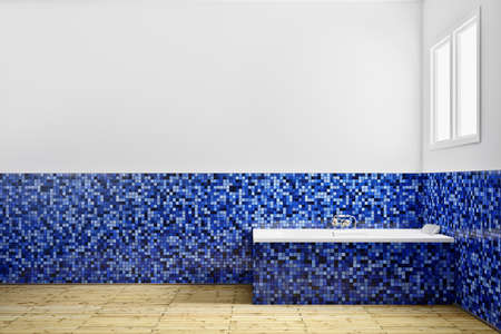 Empty Bathroom with blue tiles from side Stock Photo - 14068619