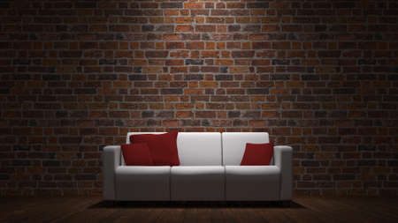 red sofa: Sofa in front of a brick wall