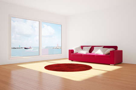 red sofa: Room with couch and carpet with wooden floor