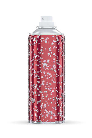 propellant: red spraycan with silver stars on white background Stock Photo