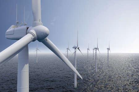 windfarm: Parque e�lico en el mar con el cielo azul