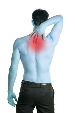 Man with pain in the neck blue tint white background isolated photo
